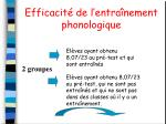 efficacit de l entra nement phonologique