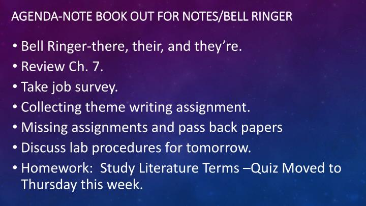 Agenda note book out for notes bell ringer
