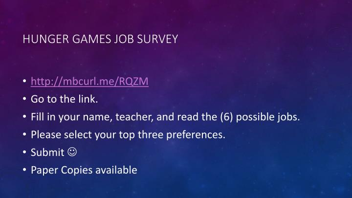 Hunger Games Job Survey
