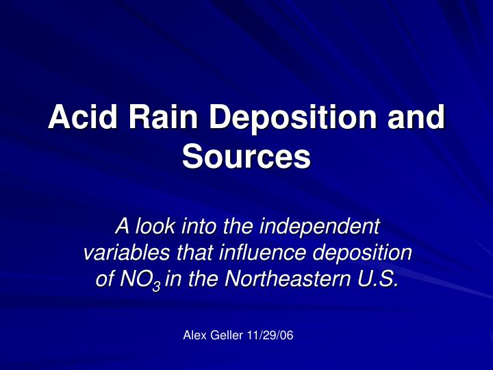 acid rain deposition and sources n.
