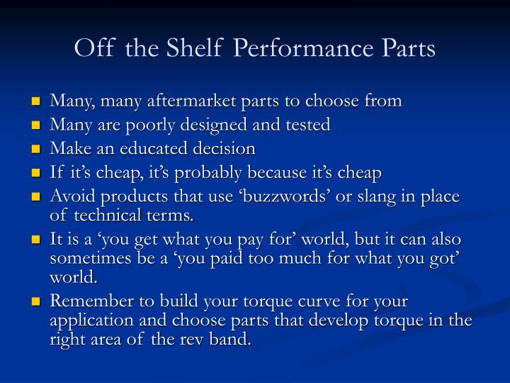 off the shelf performance parts n.