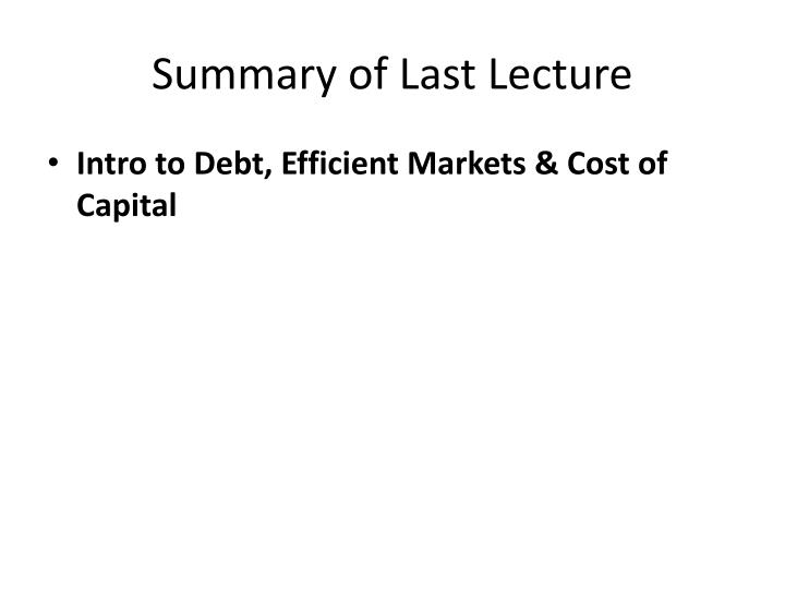 introduction to debt capital market
