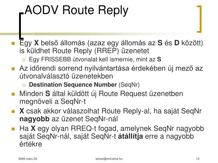 AODV Route Reply