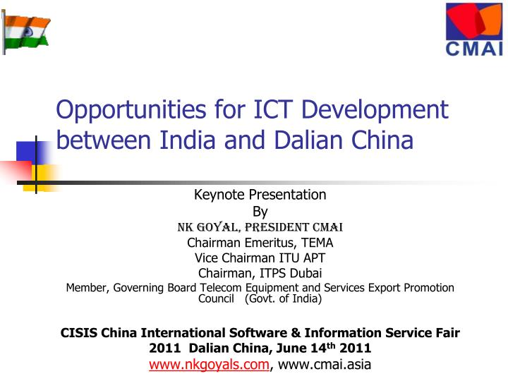 opportunities for ict development between india and dalian china n.