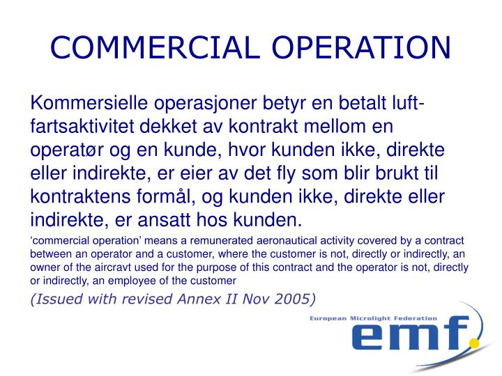 COMMERCIAL OPERATION