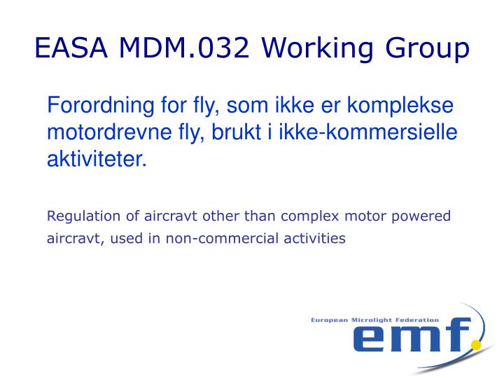EASA MDM.032 Working Group