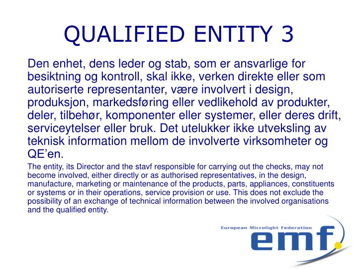 QUALIFIED ENTITY 3