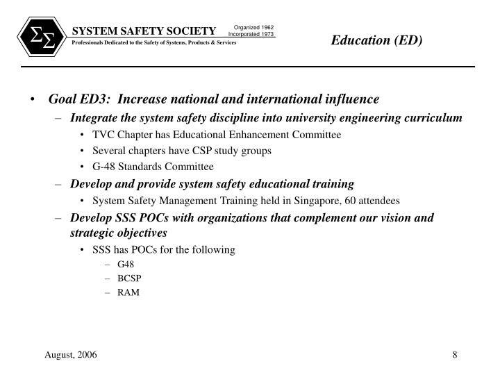 Goal ED3:  Increase national and international influence