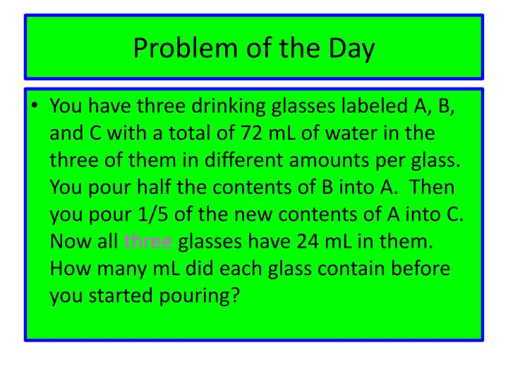 problem of the day n.