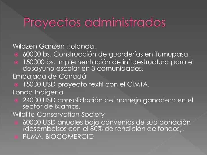 Proyectos administrados
