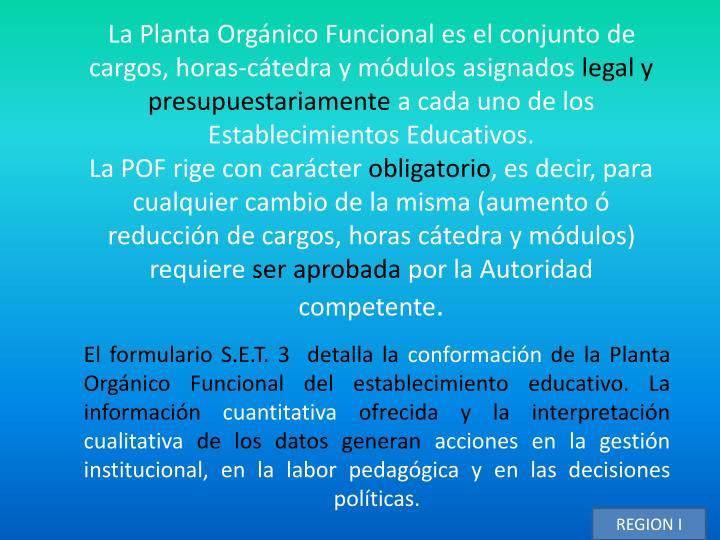 La Planta Orgánico Funcional es el conjunto de cargos, horas-cátedra y módulos asignados
