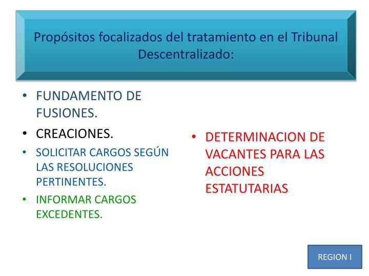 Propósitos focalizados del tratamiento en el Tribunal Descentralizado: