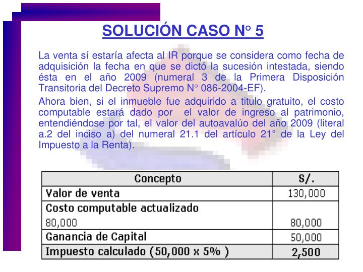 SOLUCIÓN CASO N° 5