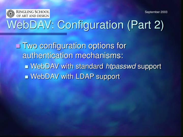 WebDAV: Configuration (Part 2)