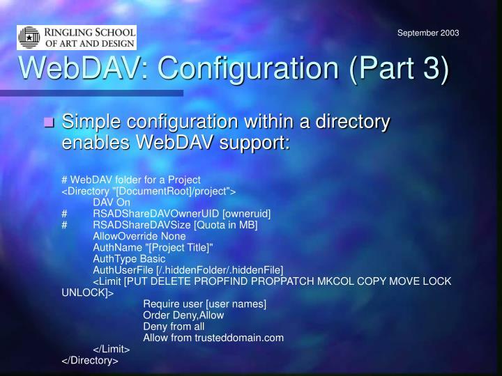 WebDAV: Configuration (Part 3)
