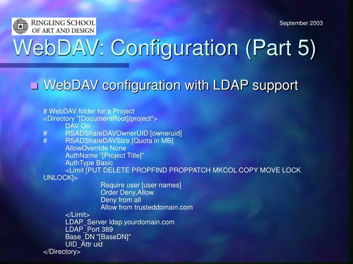 WebDAV: Configuration (Part 5)