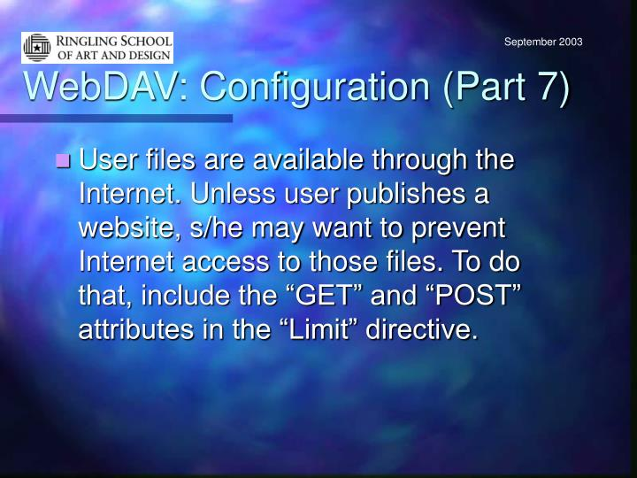 WebDAV: Configuration (Part 7)