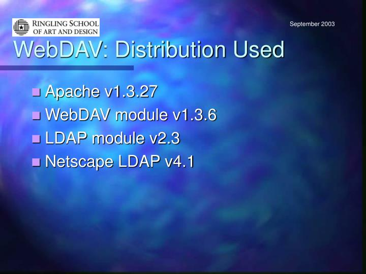 WebDAV: Distribution Used