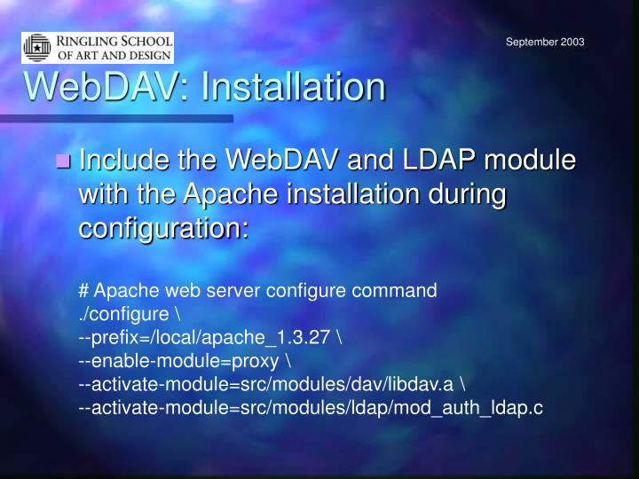 WebDAV: Installation
