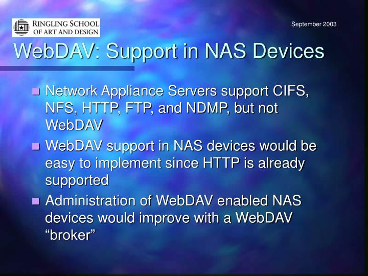 WebDAV: Support in NAS Devices