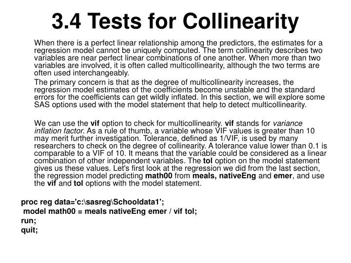 3.4 Tests for Collinearity
