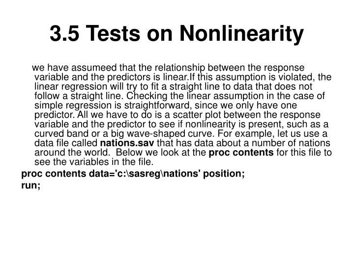 3.5 Tests on Nonlinearity