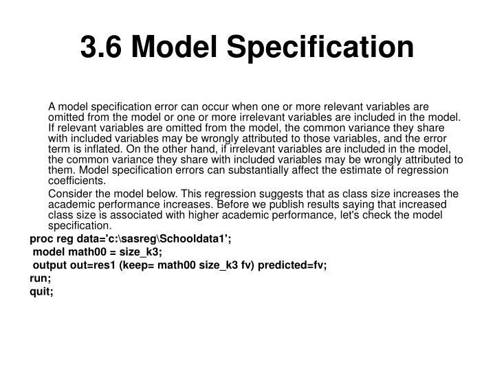 3.6 Model Specification