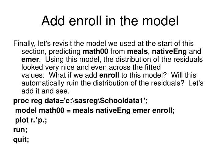 Add enroll in the model