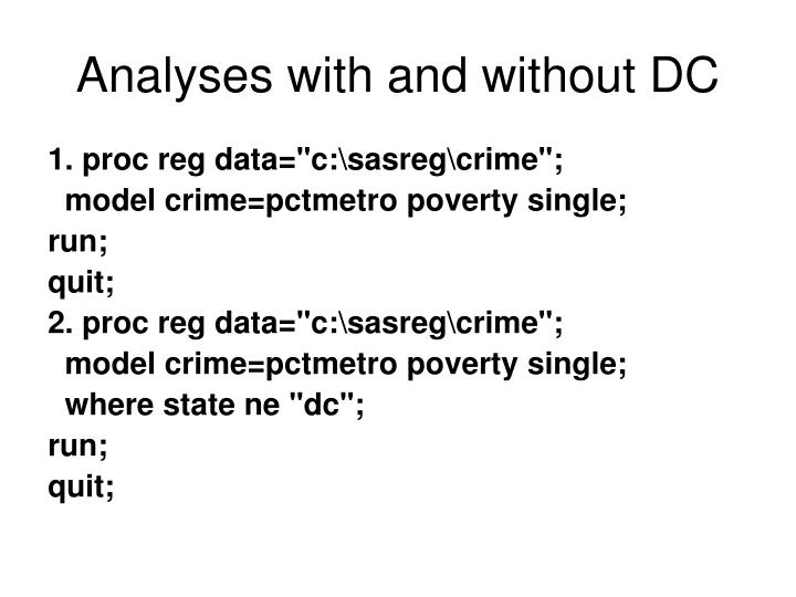 Analyses with and without DC