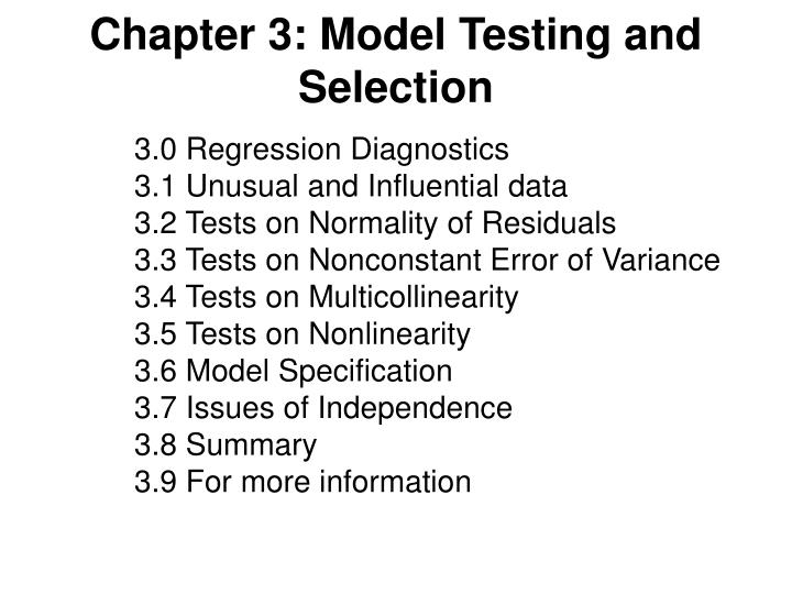 Chapter 3 model testing and selection