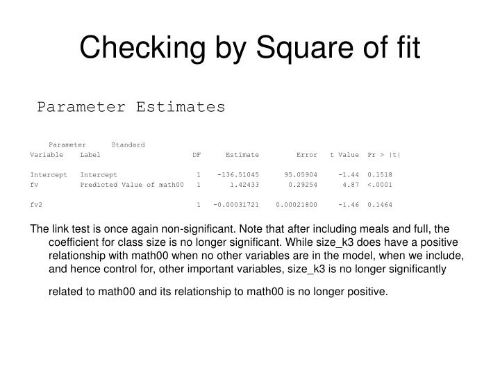 Checking by Square of fit