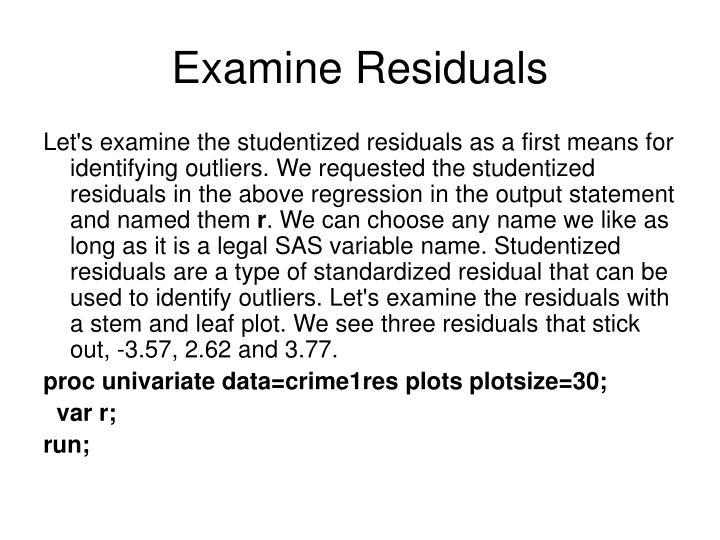 Examine Residuals