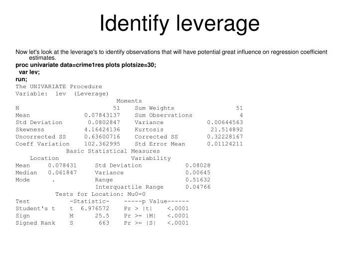 Identify leverage