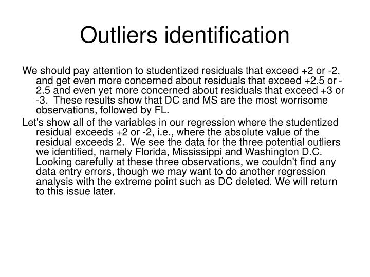 Outliers identification