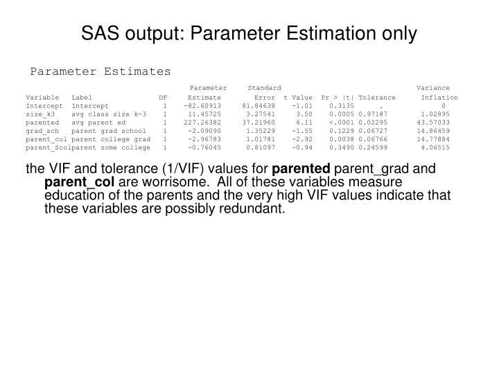 SAS output: Parameter Estimation only