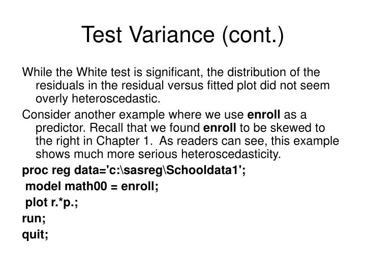 Test Variance (cont.)