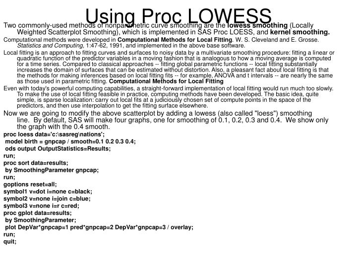 Using Proc LOWESS