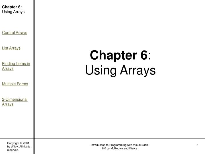 chapter 6 using arrays n.
