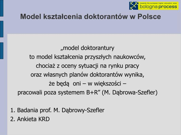 Model kształcenia doktorantów w Polsce
