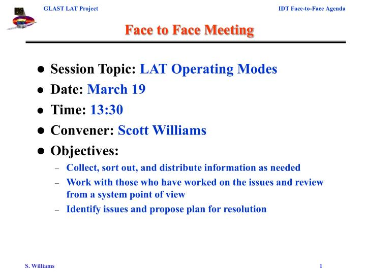 Face to face meeting