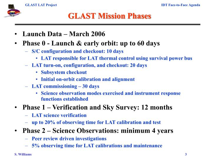 Glast mission phases