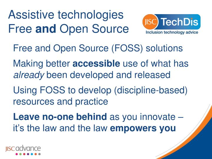 assistive technologies free and open source n.