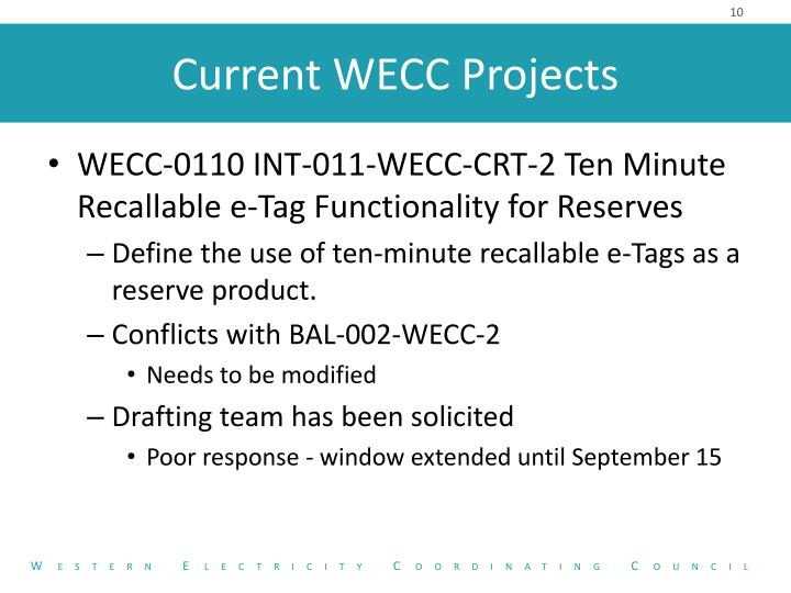 WECC-0110 INT-011-WECC-CRT-2 Ten Minute Recallable e-Tag Functionality for Reserves