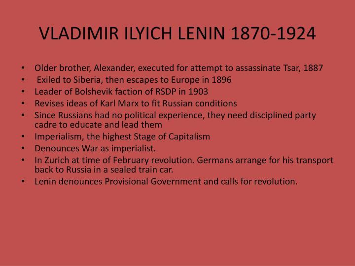 VLADIMIR ILYICH LENIN 1870-1924