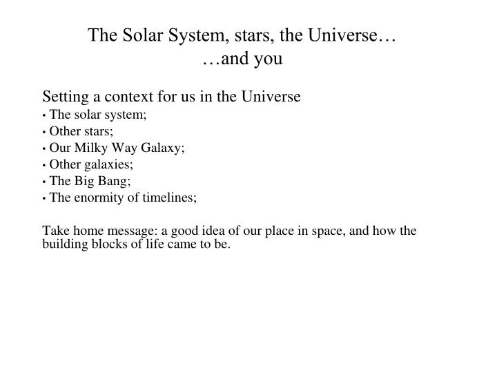 the solar system stars the universe and you n.