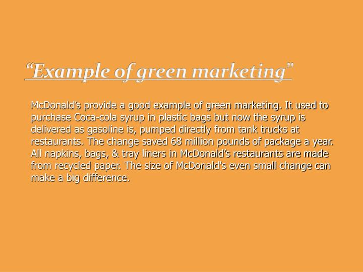 """""""Example of green marketing"""""""
