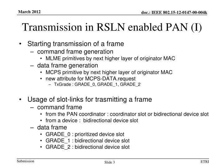 Transmission in rsln enabled pan i
