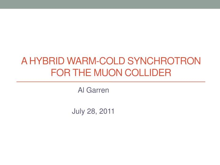 a hybrid warm cold synchrotron for the muon collider n.