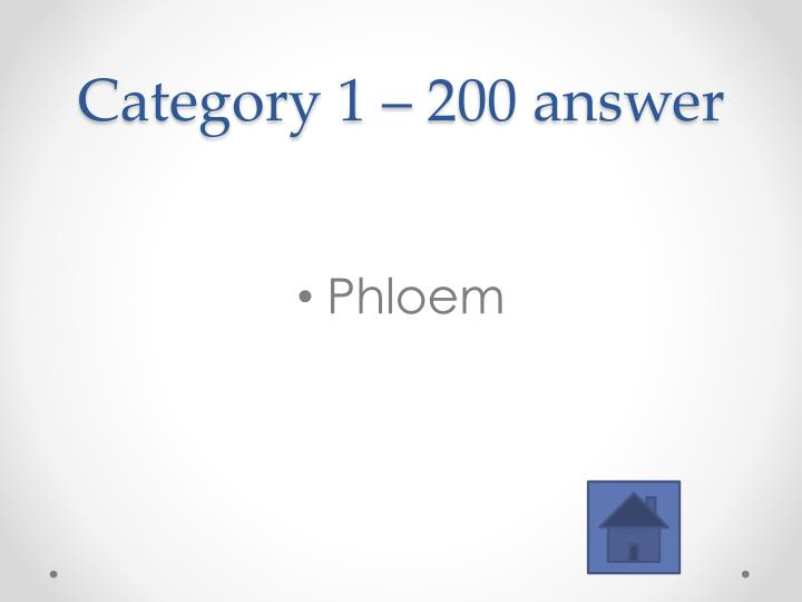 Category 1 – 200 answer