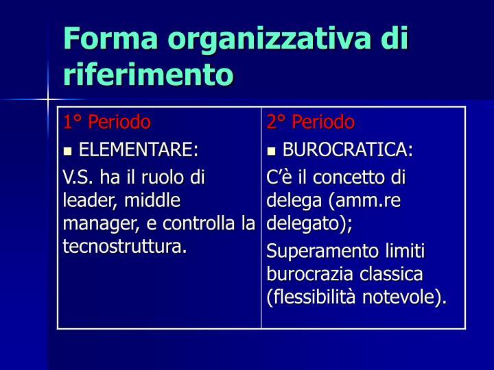 Forma organizzativa di riferimento